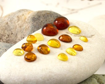 Job Lot of Genuine Baltic Amber Cabochons, Oval, Round, Heart