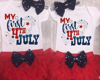 Baby Girl Clothing Set | My First 4th Of July Outfit Girl | 4th Baby Girl Outfit | Patriotic Outfit | 1st 4th of July | Independence Day