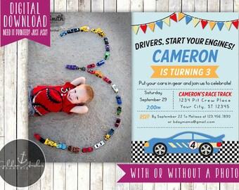 Race Car Birthday Invitation, Racecar Birthday Invite, Photo - Printable DIY