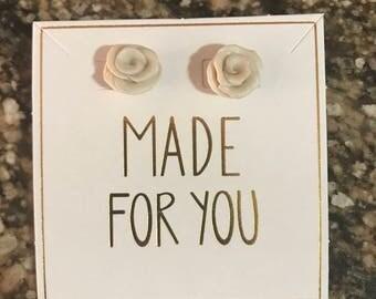 Handmade Polymer Clay Rose Stud Earrings - Shimmering Pearl