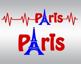 heartbeat Paris Eiffel Tower SVG Clipart Cut Files Silhouette Cameo Svg for Cricut and Vinyl File cutting Digital cuts file DXF Png Pdf Eps