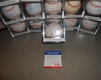 JONNY MANZIEL SIGNED clevenland browns baseball/psa/dna
