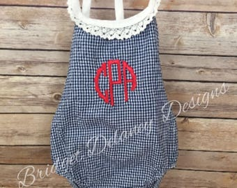 Monogrammed Gingham Bubble Romper, infant bubble romper