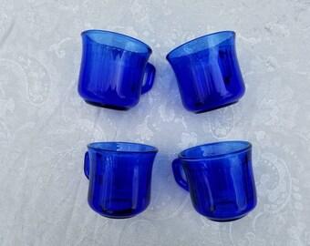 Set of 4 vintage cobalt blue glass cups/mugs, Mexico