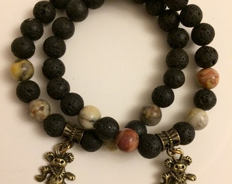 Grateful Dead Dancing Bear Stretch Bead Bracelet-Lava Rock and Crazy Lace Agate w/ Antique Bronze or Silver Color Bear