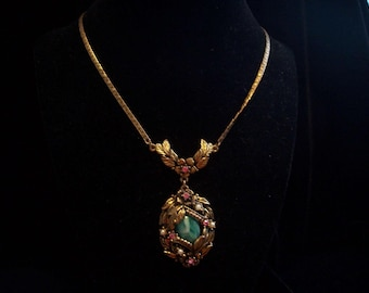 Antique Look Pendant Necklace with Pearls and Rhinestones