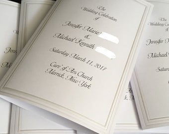 50 Wedding Programs White with a Pearl Edge
