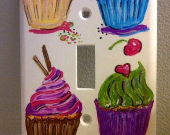 Cupcake Single Switchplate Handpainted