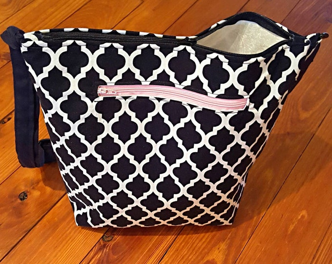Gifts for Her - Black and White Crossbody Bag - Black, White and Pink - Zipper Tote Bag - Medium Handbag - Gift for Her
