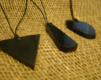 Shungite pendants set 3 pieces of Karelia.
