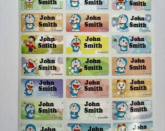 Doraemon name sticker, Doraemon, name tag, name label, waterproof sticker, school supply, gift for kids, name sticker