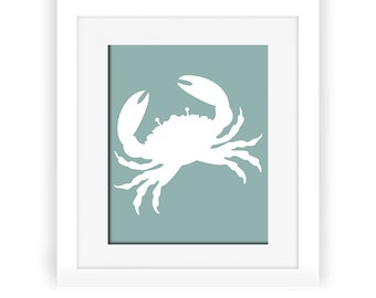 Crab Wall Art,Crab Wall Decor, Mint Crab Print, Bathroom decor, Beach House Decor Digital Print,  Nautical Art, Mint Wall Art, Wall Prints