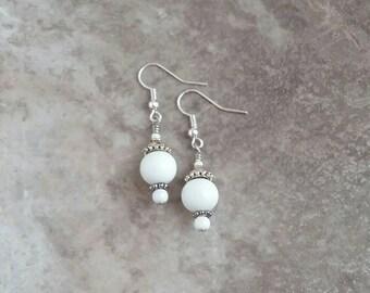 White, Glass, Dangle Earrings, classic, chic