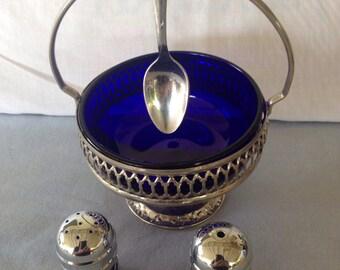 Vintage Cobalt Blue Sugar Serving set and Salt and Pepper Shakers