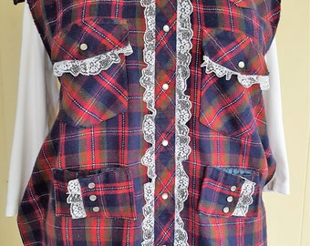 Flannel BBQ Apron Iced in White Lace  Western Cowboy Cowgirl