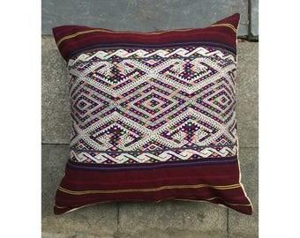 Vintage Handmade Tribal Lu Thai embroidered silk cotton pillow cover