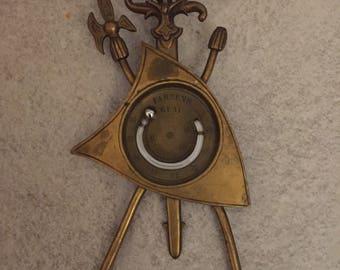 Vintage Bronze Mecury Thermometer