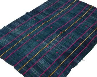 Vintage African Dogon Indigo Wedding Wrap Textile - Pink/Yellow/Green Stripes