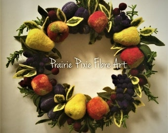 Fruit Wreath of Needle Felted Wool