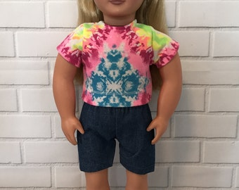 """Tie-dye shorts set for 18"""" doll"""