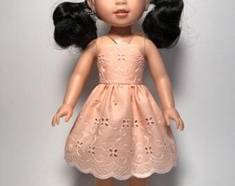 """Peach Eyelet Sundress for 14 1/2"""" doll"""