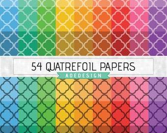 QUATREFOIL digital paper, quatrefoil background, printable quatrefoil lattice, commercial use, digital scrapbook paper, digital paper pack