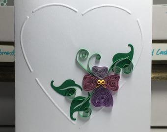 Handmade quilled pansy card