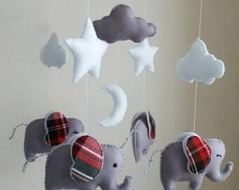 Elephant mobile, tartan ears elephant baby mobile