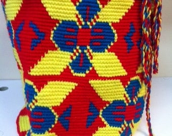 "Canvas BAG / Mochila / Boho Style / Shoulder  Bag / Large - ""The Colombian"" Red Yellow Blue"