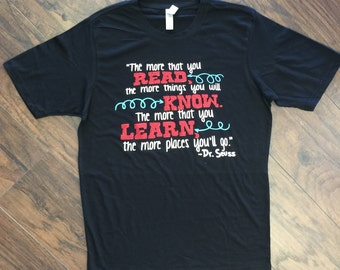 Adult Black Dr.Seuss Read, Know, Learn Tee