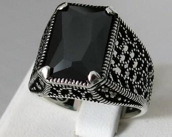 Handmade MEN's RING 925 STERLING silver With Black Zircon Stone #C30