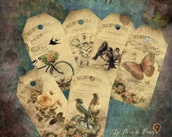 Printable Tags / Labels . Digital. Design Vintage . Varied: birds, flower, butterfly. Instant download. JPG.
