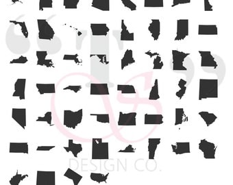 50 United States svg file for use with Cricut, Silhouette, and similar cutting machines