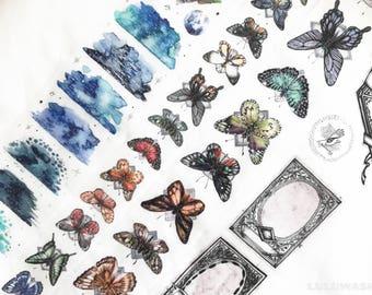 Samples - washi tape samples Lin Chia Ning limited edition garden / butterfly / vintage frames 75cm <V101>