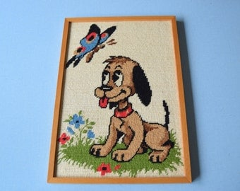 Vintage 70's / table small canvas dog and Butterfly