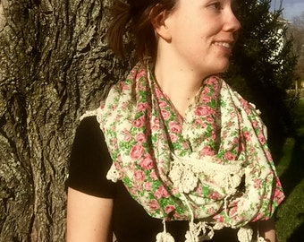 Floral Crochet Edge Infinity Scarf