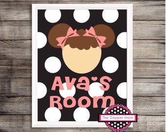 Brunette Girl Polka Dotted Nursery Print/Toy Room Print/Playroom Print/Personalized Children's Print/Gallery wall