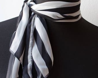 Neck scarf,Black and white prints,White stripes,Spring scarf,Womens scarves,Fashion scarf,Women gift,Summer scarf,Small scarf,Neck Kerchief
