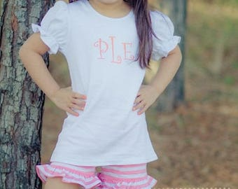 Pink ruffle shorts and adorable puff sleeve T-shirt includes free embroidered name
