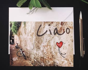 Greeting Card, Photo Card, Blank Card, Italian, Florence, Street Art, Firenze, Exit/Enter, Ciao