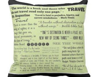 Travel Quotes pillow... typography throw pillow.. light green and black decorative pillow... free US shipping