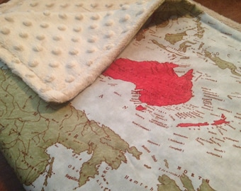 WORLD Map minky blanket - map baby cuddle blankie/blanky... 34 by 34 inches... ready to ship
