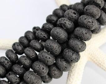Black Lava Beads, Rondelle, 10mm x 6mm - Full Strand or Half Strand