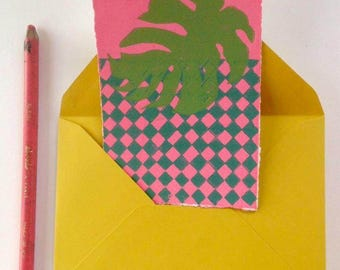 Lino printed card, monstera