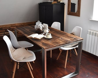 Hand Crafted farmhouse style Reclaimed Wood & Steel Dining Table - Handmade Industrial KitchenTable loft rustic unique brown silver