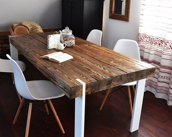 Hand Crafted 6 8 10 seater farmhouse style Reclaimed Wood Dining Table Handmade Industrial Kitchen Table old wood white brown rustic Modern