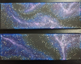 Star nebula galaxy paintings two 3 in X 9 in hand painted canvas' set