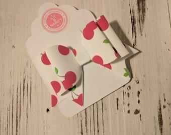 HANDMADE // Cherry Print Bow // Cherries Bow // Large White Bow // Hair Bows // Girls Bows // Hair Accessories // Hair Bow //