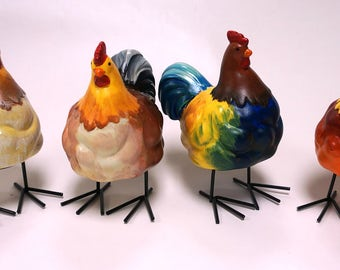 Hand-painted ceramic Roosters