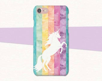 Unicorn Phone Case, Pastel Watercolor Unicorn iPhone Case, iPhone 7 Case Unicorn, Rainbow Phone Case, Rainbow iPhone Case, iPhone 6 Plus SE